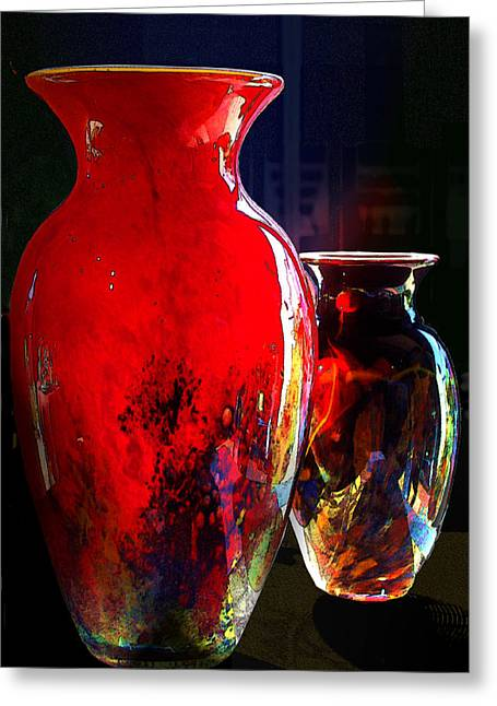 Gaphic Greeting Cards - Red Vase Greeting Card by Paul Wear