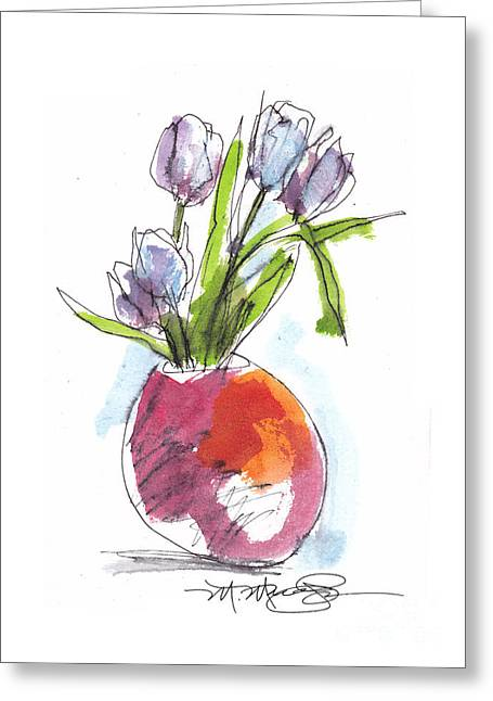 Vase Of Flowers Drawings Greeting Cards - Red Vase with Tulips Greeting Card by Marilyn MacGregor