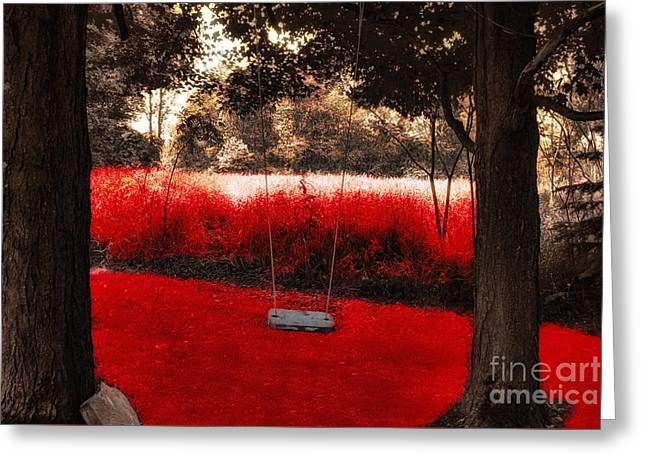 Surreal Landscape Paintings Greeting Cards - Red Velvet  Greeting Card by Mindy Sommers