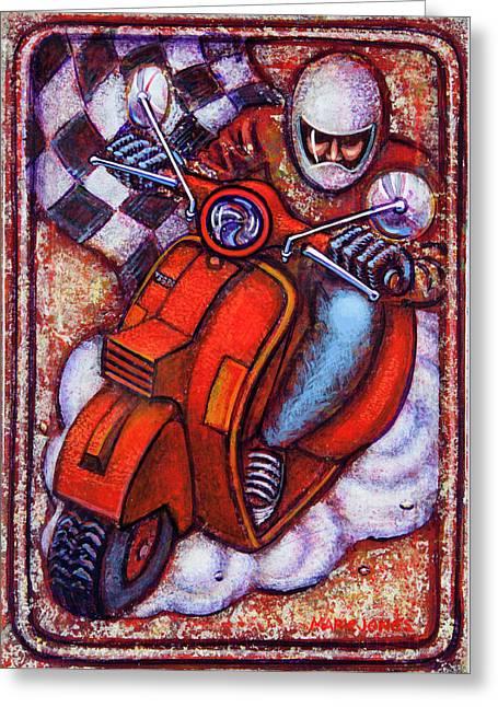 Red Vespa Greeting Card by Mark Howard Jones