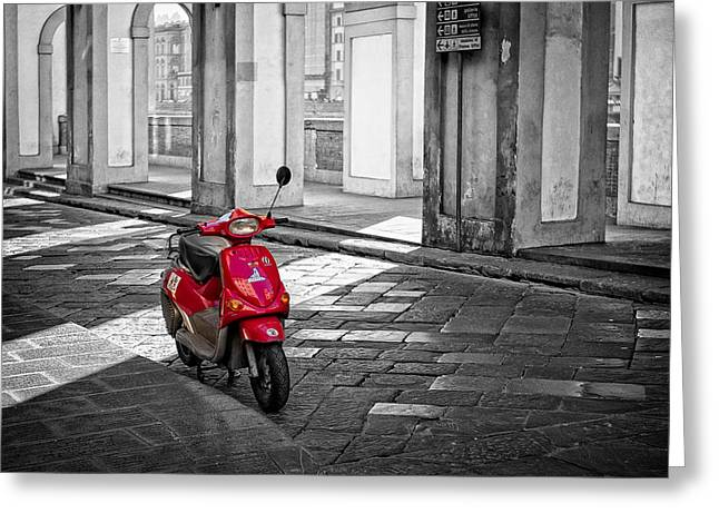 Johnhost Greeting Cards - Red Vespa Greeting Card by Michael Avory