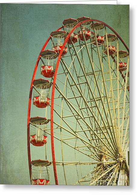 Amusements Greeting Cards - Red Vintage ferry wheel Greeting Card by Isabel Poulin