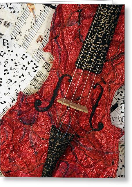 Collage Tapestries - Textiles Greeting Cards - Red Violin II Greeting Card by Loretta Alvarado