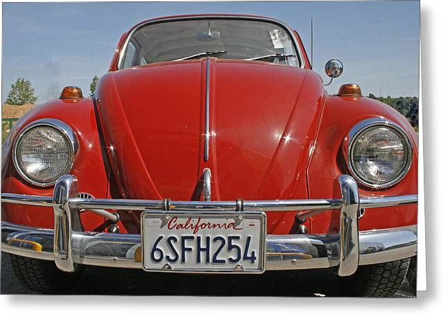 Volkswagen Beetle Greeting Cards - Red Volkswagen Beetle Greeting Card by Nomad Art And  Design