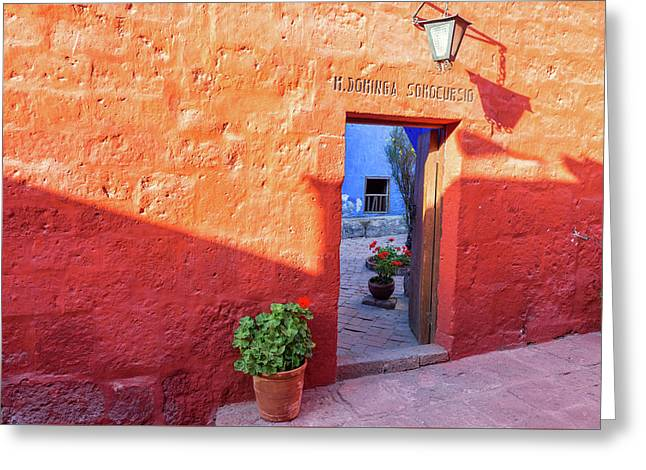 Red Wall In Santa Catalina Monastery Greeting Card by Jess Kraft
