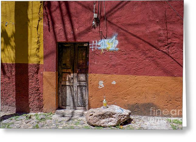 Absolut Greeting Cards - Red Wall - San Miguel de Allende Greeting Card by Amy Fearn