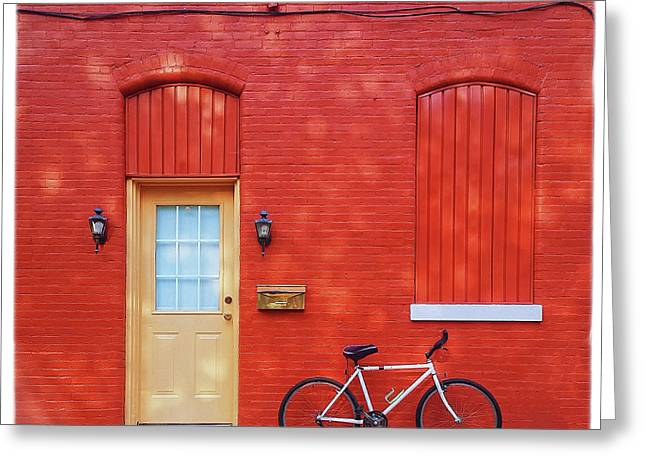 Yellow Door Greeting Cards - Red Wall White Bike Greeting Card by Edward Fielding