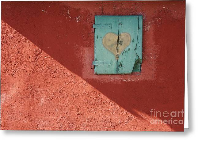 Differences Greeting Cards - Red Wall with Shuttered Window Greeting Card by Jeremy Woodhouse
