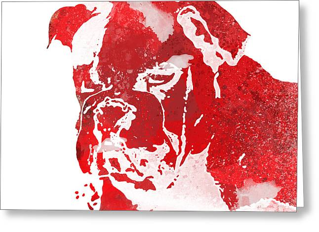 Bully Mixed Media Greeting Cards - Red Watercolor Bulldog Greeting Card by Joseph Dollison