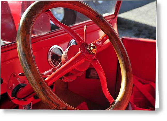 Antic Car Greeting Cards - Red wheel Greeting Card by David Lee Thompson