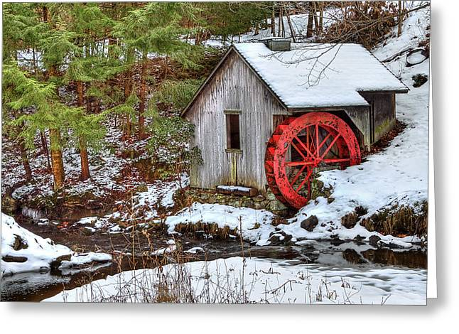 Shack Greeting Cards - Red Wheel Greeting Card by Evelina Kremsdorf
