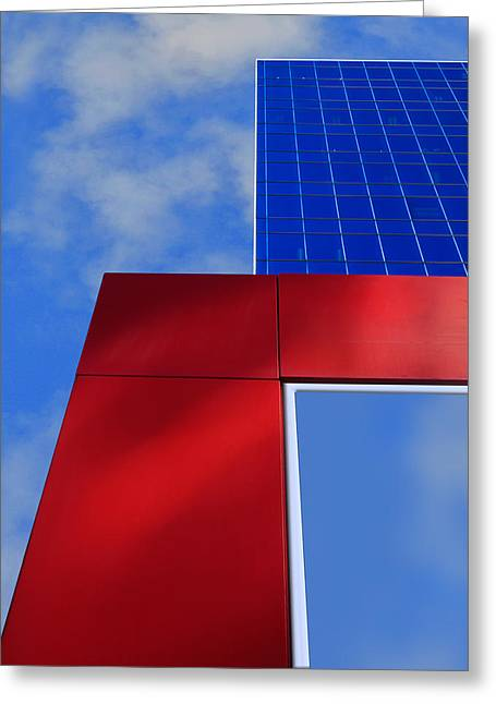 Shades Of Red Greeting Cards - Red White and 2 Shades of Blue Greeting Card by Paul Wear