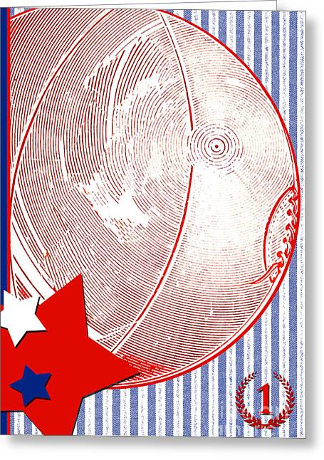 Award Mixed Media Greeting Cards - Red White and Blue Childrens Sports Classic  Greeting Card by ArtyZen Studios - ArtyZen Home