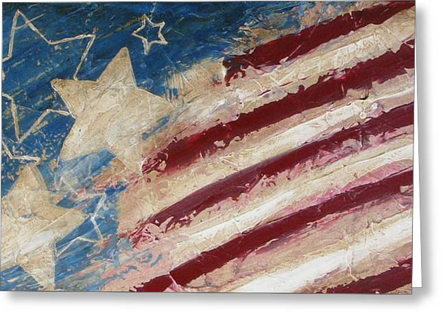 4th July Paintings Greeting Cards - Red White and Blue Greeting Card by Debera