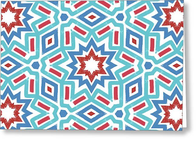 Red White And Blue Fireworks Pattern- Art By Linda Woods Greeting Card by Linda Woods