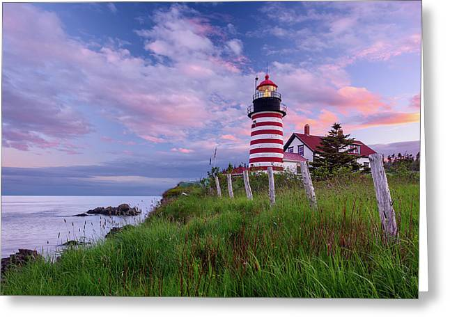 Red, White And Blue Greeting Card by Michael Blanchette