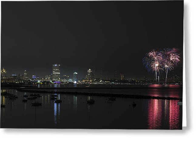 Summerfest Greeting Cards - Red White and Blue MKE 2015 Greeting Card by CJ Schmit