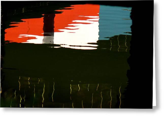 Abstract Movement Greeting Cards - Red White and Blue reflections in the water Greeting Card by Gene Camarco