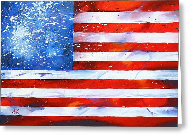 Red White And Bold Greeting Card by David Keenan