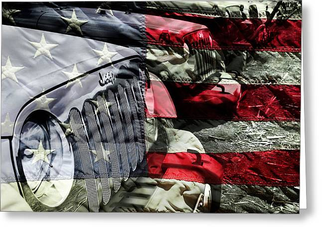 Recently Sold -  - White Cloth Greeting Cards - Red White and Jeep Greeting Card by Luke Moore