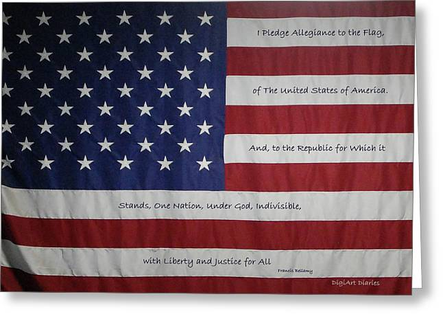 Betsy Ross Greeting Cards - Red White and True Greeting Card by DigiArt Diaries by Vicky B Fuller