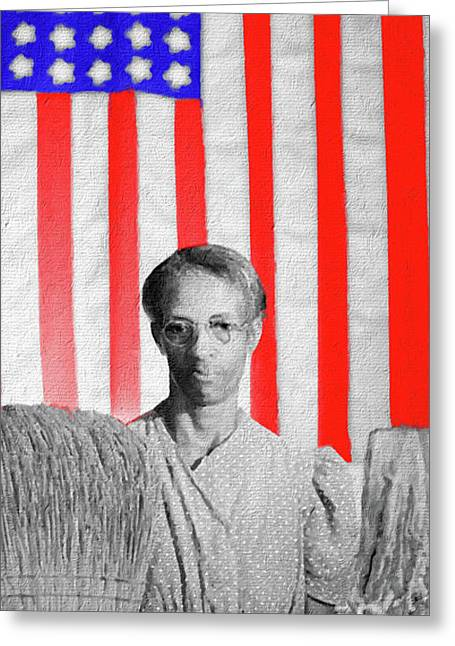 Red White Black And Blue Super Tall Greeting Card by Tony Rubino