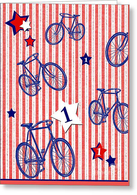 Award Mixed Media Greeting Cards - Red White Blue Kids Rooms Decor Greeting Card by ArtyZen Studios - ArtyZen Home
