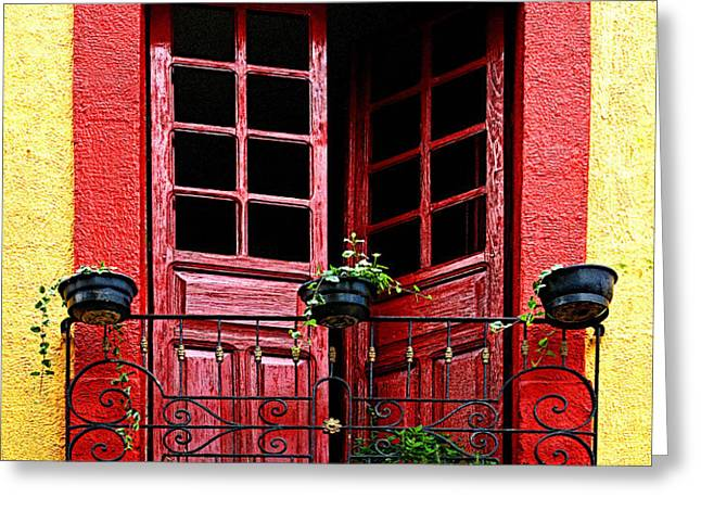 Red Window Greeting Card by Olden Mexico