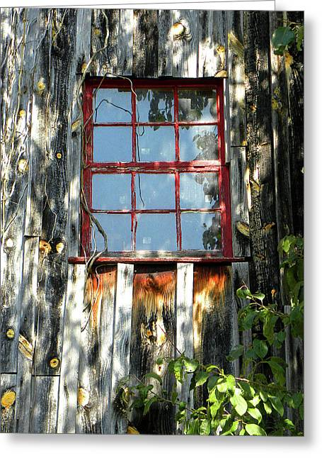 Red Window Greeting Card by Sandi OReilly