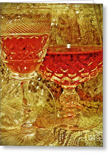 Cut Glass Greeting Cards - Red Wine 4 Greeting Card by Sarah Loft