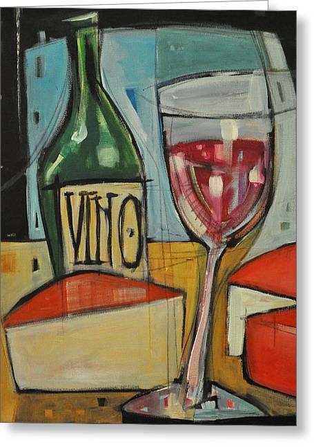 Red Wine And Cheese Greeting Card by Tim Nyberg