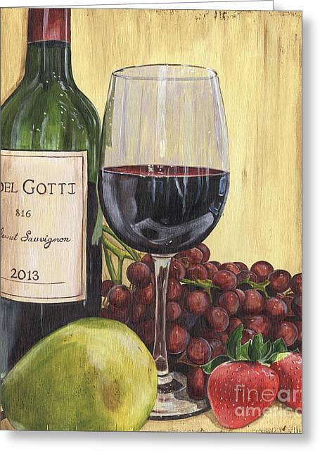 Citron Greeting Cards - Red Wine and Pear 2 Greeting Card by Debbie DeWitt