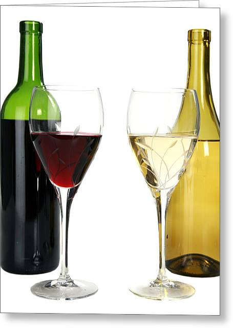 Wine Pour Greeting Cards - Red wine and white wine in cut crystal wine glasses  Greeting Card by Michael Ledray