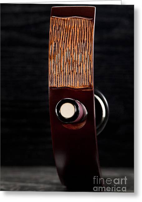 Wine Holder Photographs Greeting Cards - Red wine bottle in luxury holder Greeting Card by Wolfgang Steiner