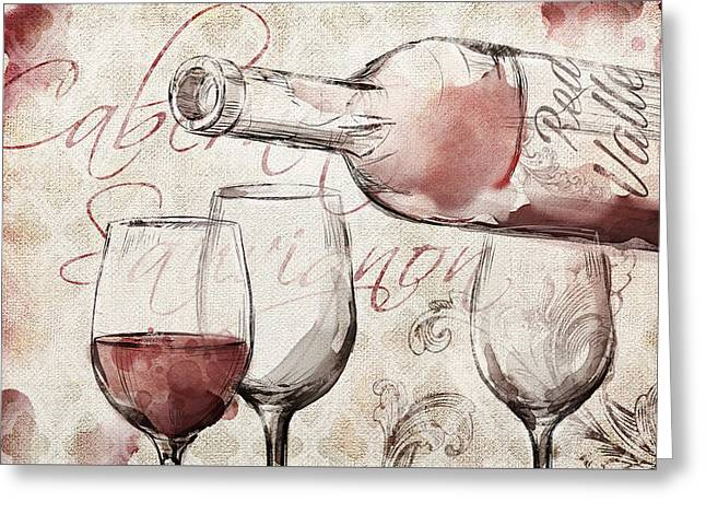 Red Wine Burlap Greeting Card by Mauro DeVereaux