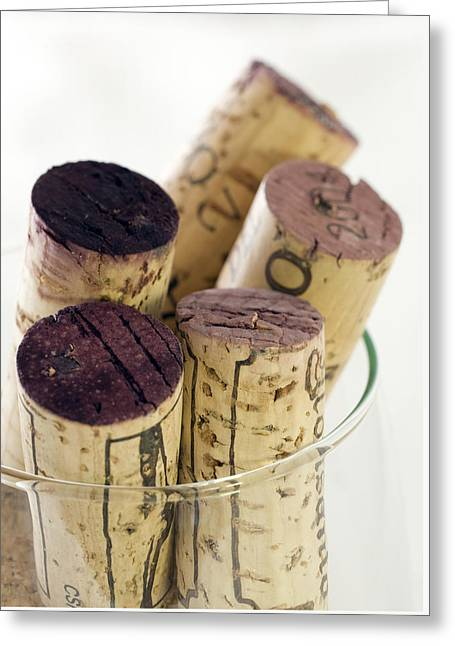 Culinary Photographs Greeting Cards - Red wine corks Greeting Card by Frank Tschakert
