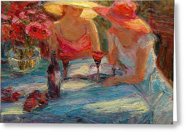 Newton Paintings Greeting Cards - Red Wine Greeting Card by Diane Leonard