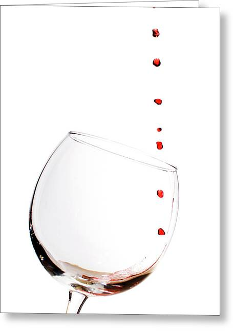Glass Of Wine Greeting Cards - Red Wine Drops into Wineglass Greeting Card by Dustin K Ryan