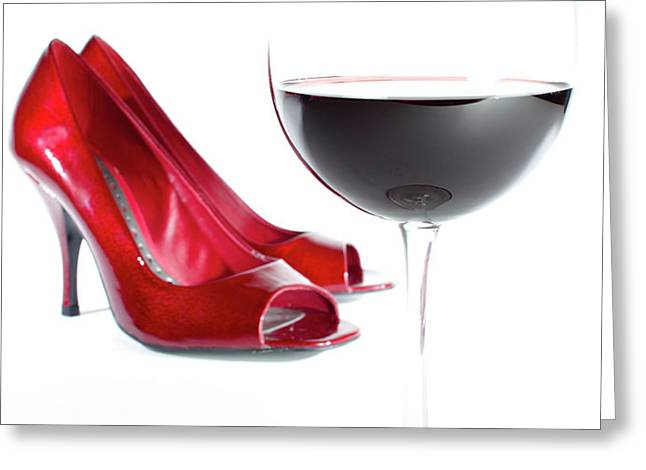Red Wine Glass Red Shoes Greeting Card by Dustin K Ryan