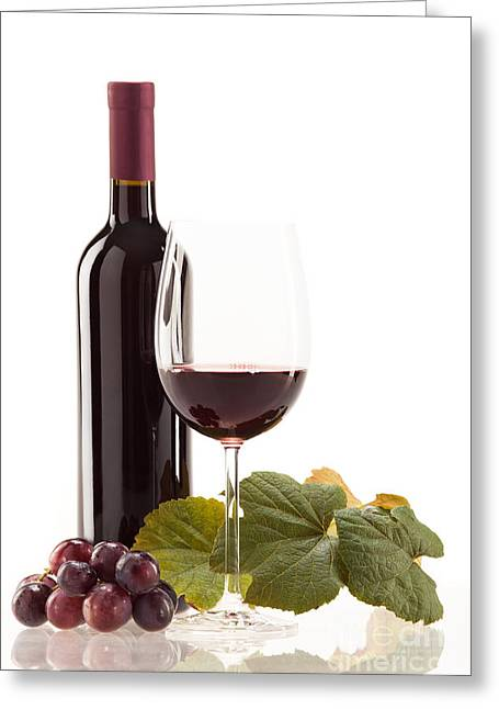 Red Wine Greeting Cards - Red wine in glass with fruit Greeting Card by Wolfgang Steiner