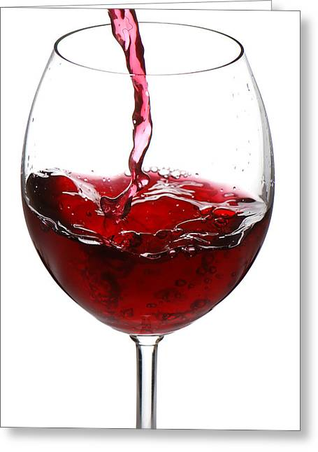 Wine Pour Greeting Cards - Red wine Greeting Card by Jaroslaw Grudzinski