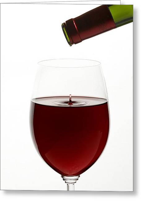 Red Wine On White Background With Droplet Greeting Card by Talita Nicolielo
