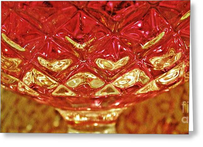 Cut Glass Greeting Cards - Red Wine Panorama Greeting Card by Sarah Loft