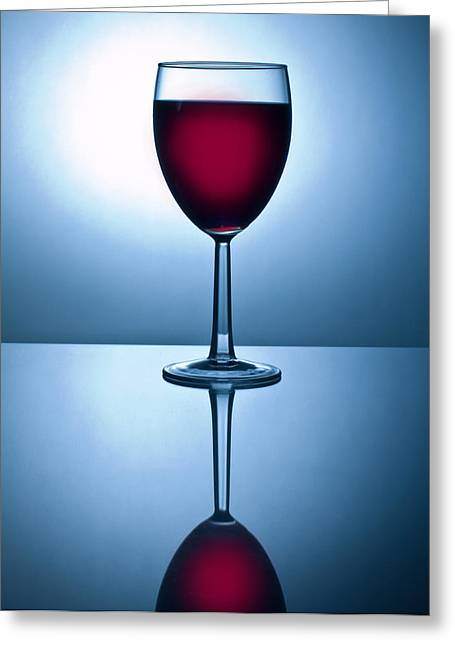 Wine-glass Greeting Cards - Red Wine with Reflection Greeting Card by David Thompson