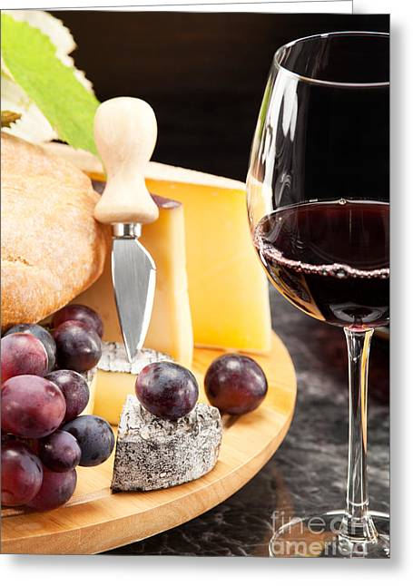 Red Wine Greeting Cards - Red wine with wine grapes Greeting Card by Wolfgang Steiner
