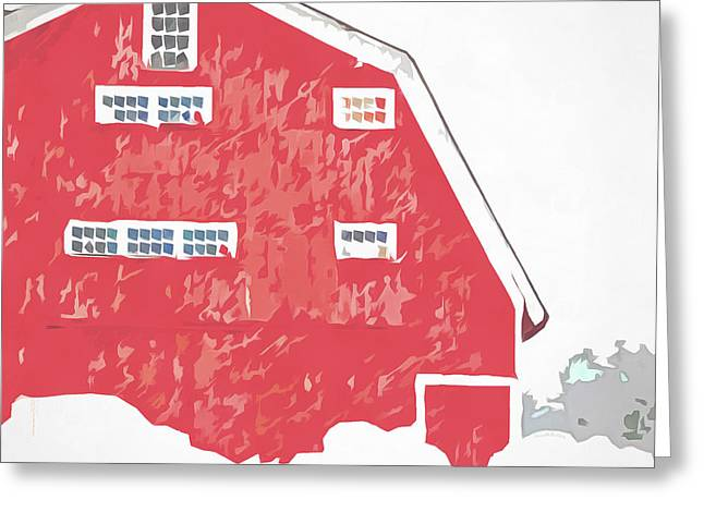 Storm Prints Digital Greeting Cards - Red Winter Barn Greeting Card by Edward Fielding