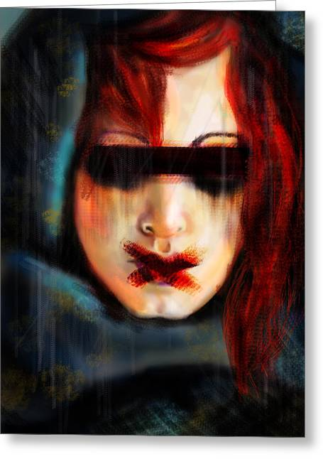 Freedom Of Speech Greeting Cards - Red Witch Silenced Greeting Card by Lakota Phillips