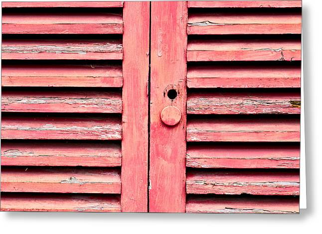 Scruffy Greeting Cards - Red wooden door Greeting Card by Tom Gowanlock