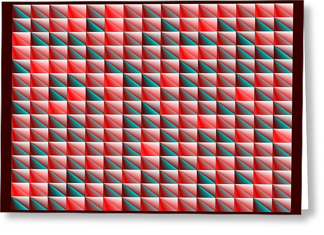 Rectangles Greeting Cards - Red.117 Greeting Card by Gareth Lewis