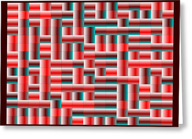 Rectangles Greeting Cards - Red.120 Greeting Card by Gareth Lewis